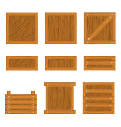 Set of wooden box icon vector