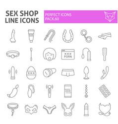 Sex shop thin line icon set toys symbols vector