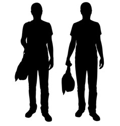 silhouettes of men with bags vector image