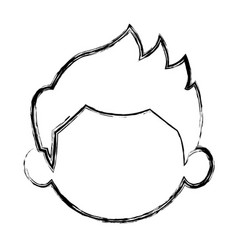 Sketch little boy face kid male vector