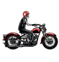 Skull riding vintage motorcylcle vector