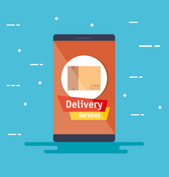 smartphone with app delivery service vector image
