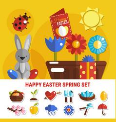 spring easter flat set vector image