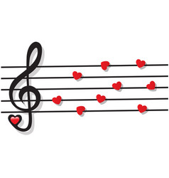 Stave with heart notes and treble clef vector