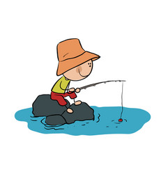 Stick figure boy is fishing stock vector