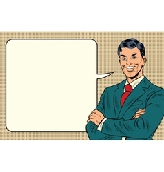 successful retro businessman comic bubble vector image