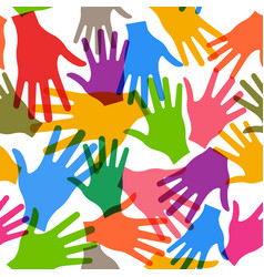 teamwork hands seamless pattern background vector image