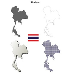 Thailand blank detailed outline map set vector image