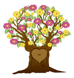 Tree with heart and initials vector