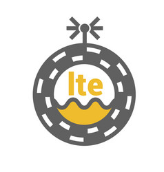 Unusual flat lte 4g sticker with geometric design vector