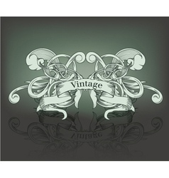 Vintage emblem with ribbon and floral vector