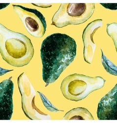 Watercolor avocado pattern vector image