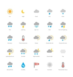 Weather colored icons on white background vector image