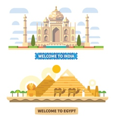 Welcome to India and Egypt vector