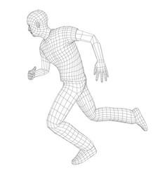 Wire frame running man vector