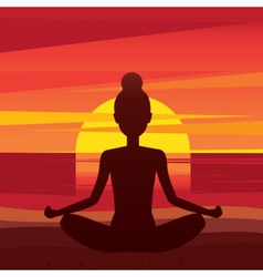 Woman sitting in yoga pose padmasana on the beach vector