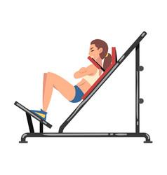 Woman training on shoulder press machine vector