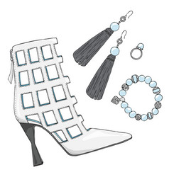 womens shoes heels with earrings bracelet and vector image