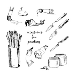 Accessories for painting vector image