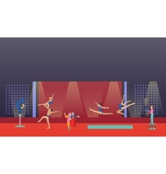 Circus interior concept banner acrobats vector