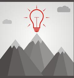 Idea concept idea light bulb at the top of a vector