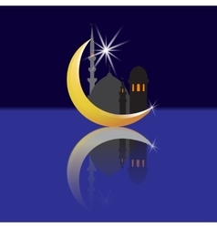 Crescent with a star and its reflection Oriental vector image