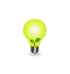 Incandescent lamp with baby seedling vector image vector image
