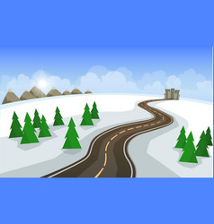 the winter landscape of forests mountains road vector image