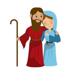 virgin mary and joseph cartoon vector image vector image