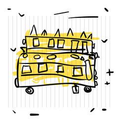 back to school concept cute sketch of school bus vector image vector image