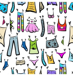 Clothes sketch seamless pattern for your design vector image vector image