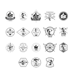 Fishing Retro Design Insignias Logotypes Set vector image vector image