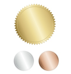 Gold award seal medals set on white background vector