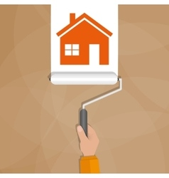 Paint roller with hand painting house vector image