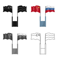 russia and china flags icon in cartoon style vector image