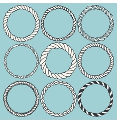 Set of 9 decorative circle border frames vector image