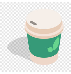 take out tea cup isometric icon vector image