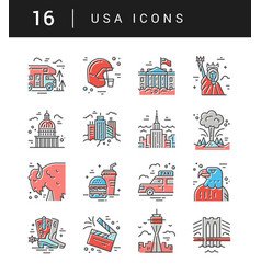 the set of usa symbols vector image vector image