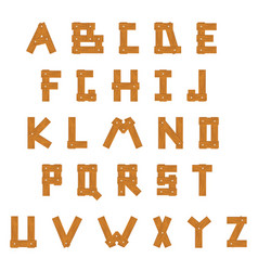 Wooden alphabet set with all letters vector