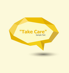 yellow polygonal geometric speech bubble vector image