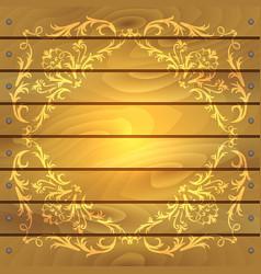 Floral frame on wood background vector