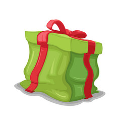gift green box dented crush vector image