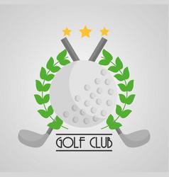 golf club ball and clubs cross emblem sport vector image