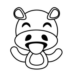 hippo animal toy outline vector image