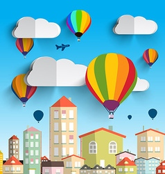 Hot Air Balloons with Clouds with Houses on vector image