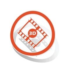 3D movie sign sticker orange vector