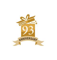 93 years gift box ribbon anniversary vector