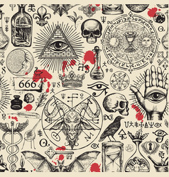 Abstract seamless pattern on occult theme vector