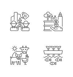 Agribusiness linear icons set vector