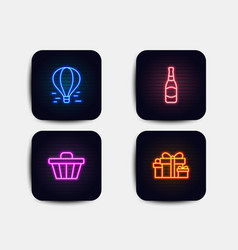 air balloon shop cart and beer bottle icons vector image